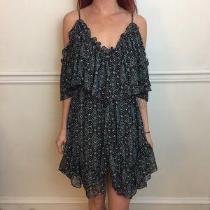 MISA Black Floral Cold Shoulder Ruffle Mini Dress